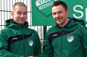 Alex Eichenauer (links) begrüßt den kommenden VFR-Trainer Christian Siegfart.